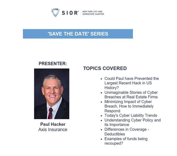 Paul Hacker To Speak At SIOR Cybersecurity Series February 4th